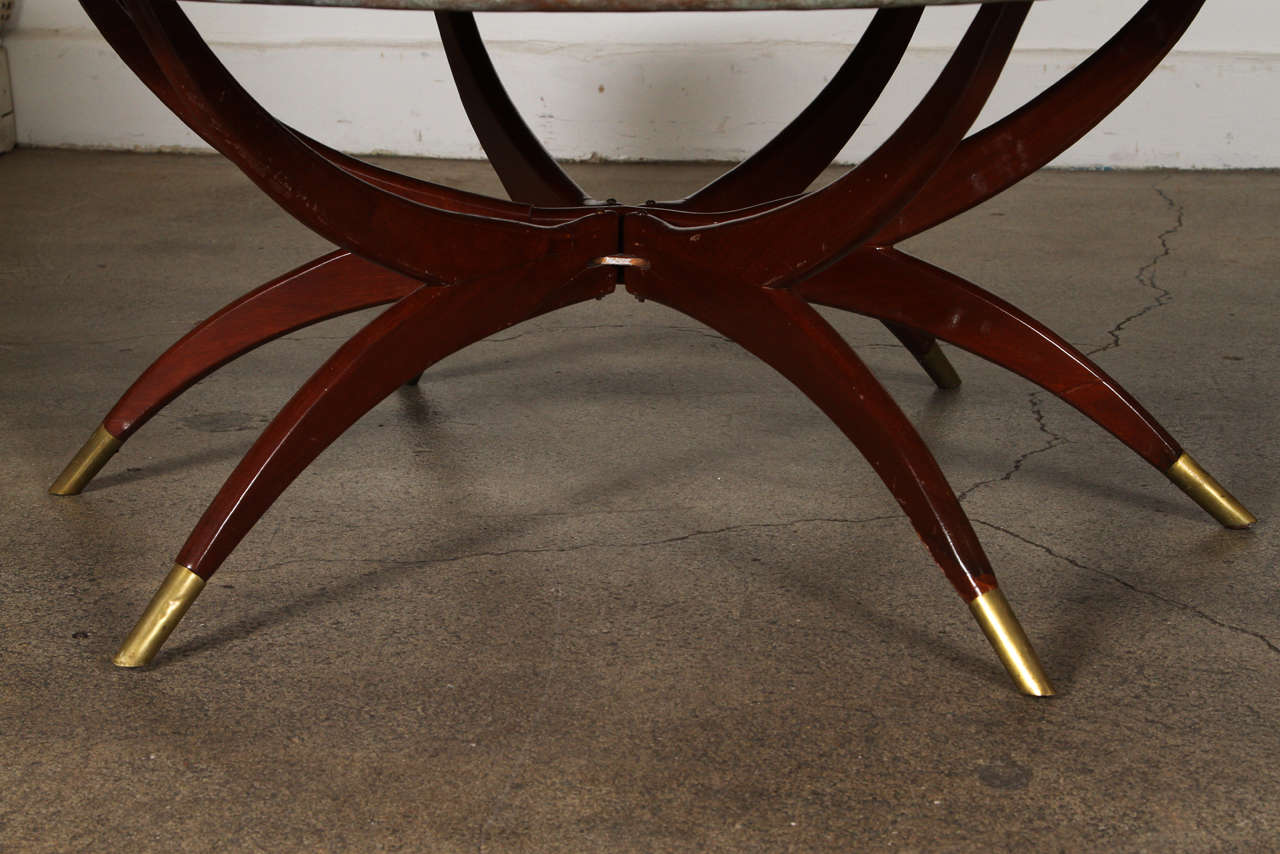 Mid-20th Century Large Moroccan Round Brass Tray Table on Folding Stand 45 in. For Sale