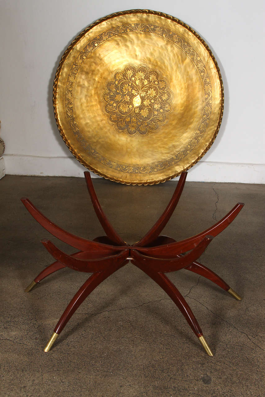 Large Moroccan Round Brass Tray Table on Folding Stand 45 in. For Sale 2