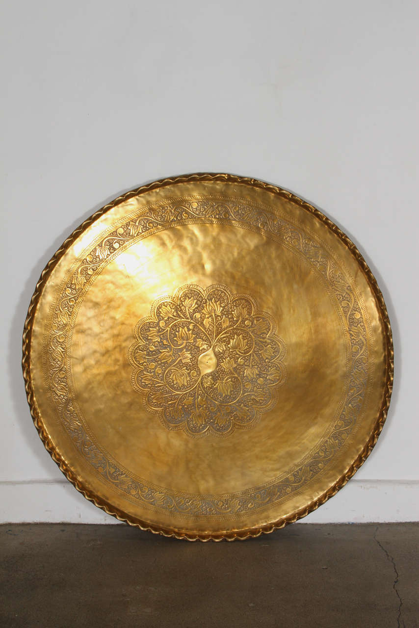 Large Moroccan Round Brass Tray Table on Folding Stand 45 in. For Sale 3