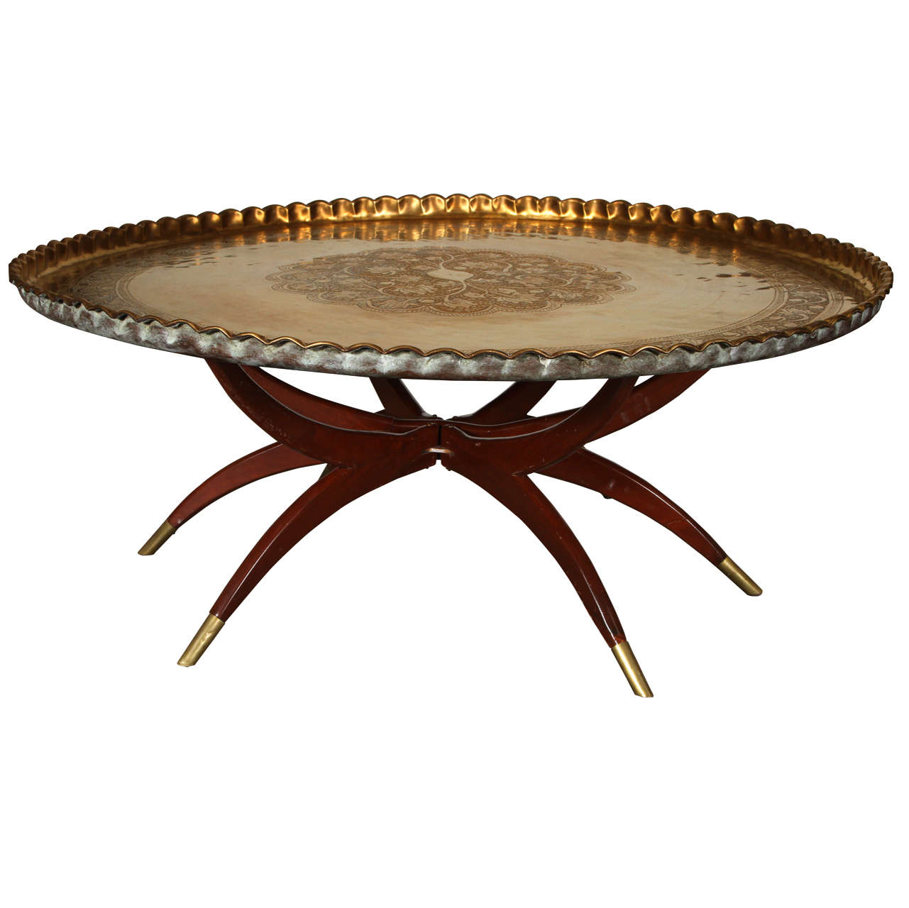 Charmant Large Moroccan Round Brass Tray Table On Folding Stand 45 In.