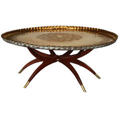 Large Moroccan Round Brass Tray Table on Folding Stand 45 in.