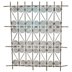 Antique Moroccan Moorish Wrought Iron Window Grille