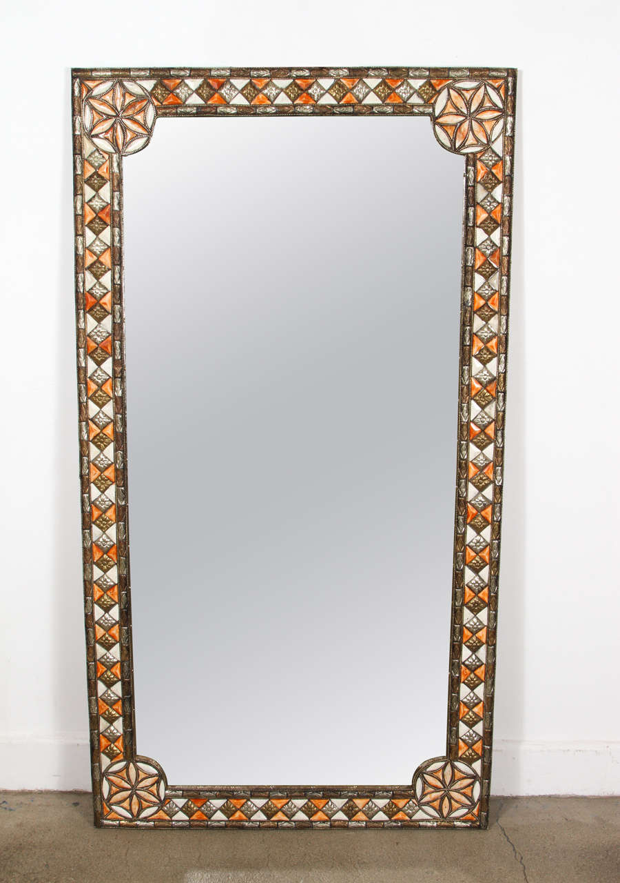 Large Moroccan Mirror Inlaid With Camel Bone In White And Amber Color Brass Embossed Metal
