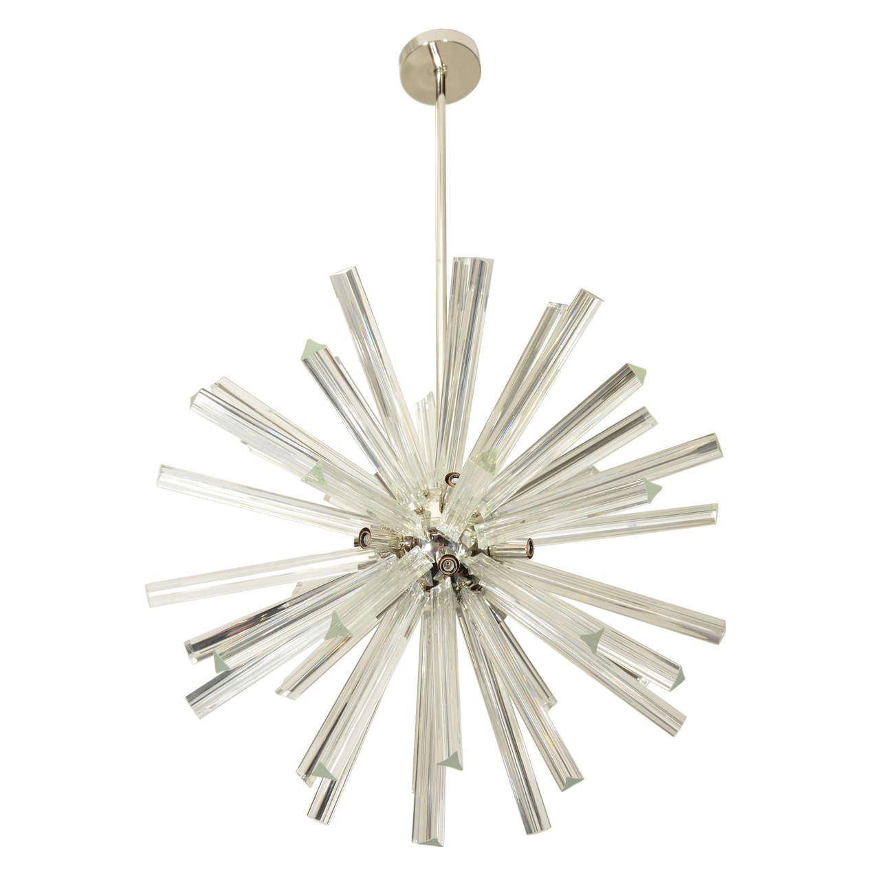 vintage starburst style chandelier in chrome and glass . vintage starburst style chandelier in chrome and glass at stdibs