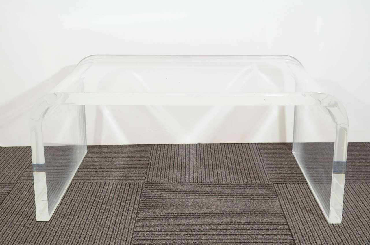 Mid Century Thick Lucite Waterfall-form Coffee Table 2 - Mid Century Thick Lucite Waterfall-form Coffee Table At 1stdibs