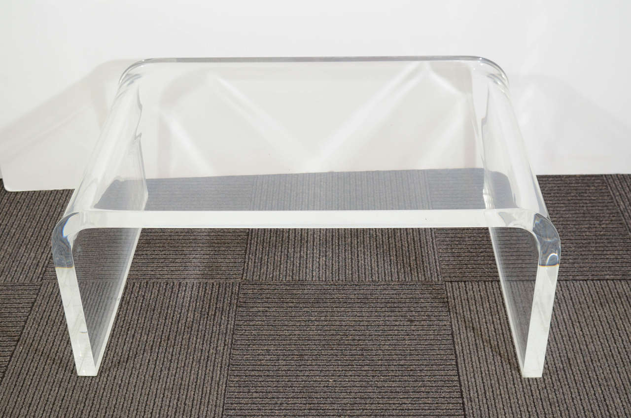 Mid Century Thick Lucite Waterfall Form Coffee Table At 1stdibs