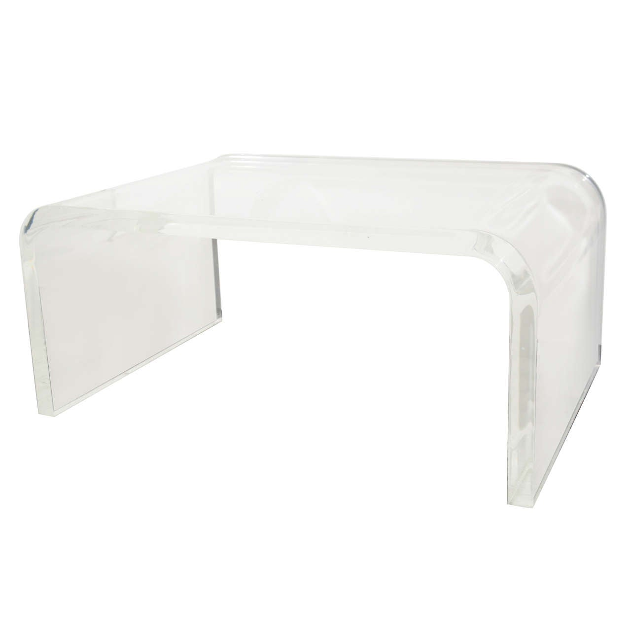Design Lucite Coffee Table mid century thick lucite waterfall form coffee table at 1stdibs 1