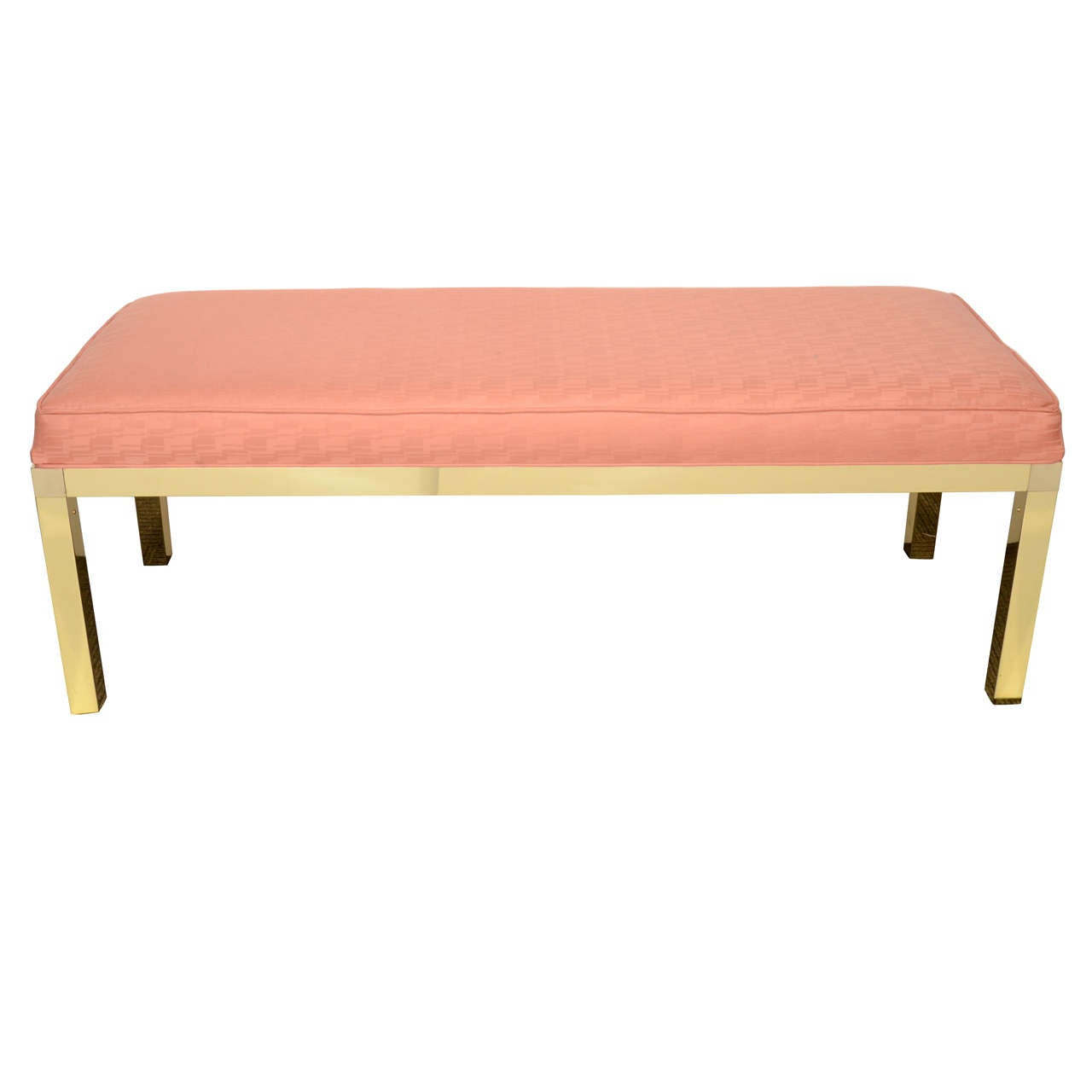 Mid Century Bench In Pink With Brass Frame At 1stdibs