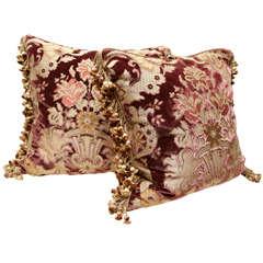 Pair of Italian Cut Silk Velvet Pillows