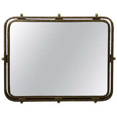 Late Deco Streamline Moderne French Bronze Mirror