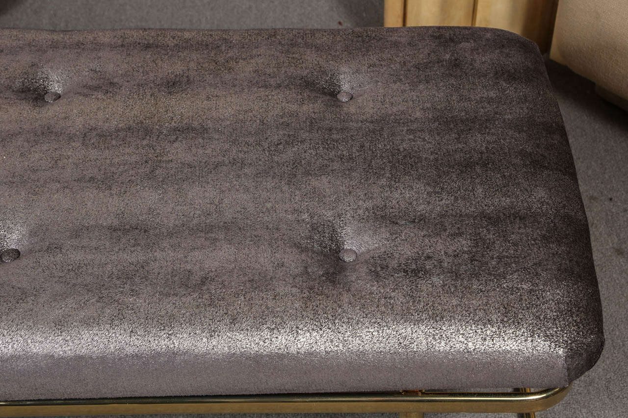 Brass bench with Luxurious metallic upholstery fabric at 1stdibs