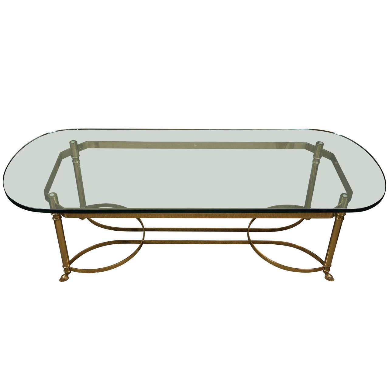 Lovely Coffee Table With Brass Base And Glass Top At 1stdibs