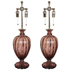 Beautiful Pair of Barovier Amethyst Glass Table Lamps