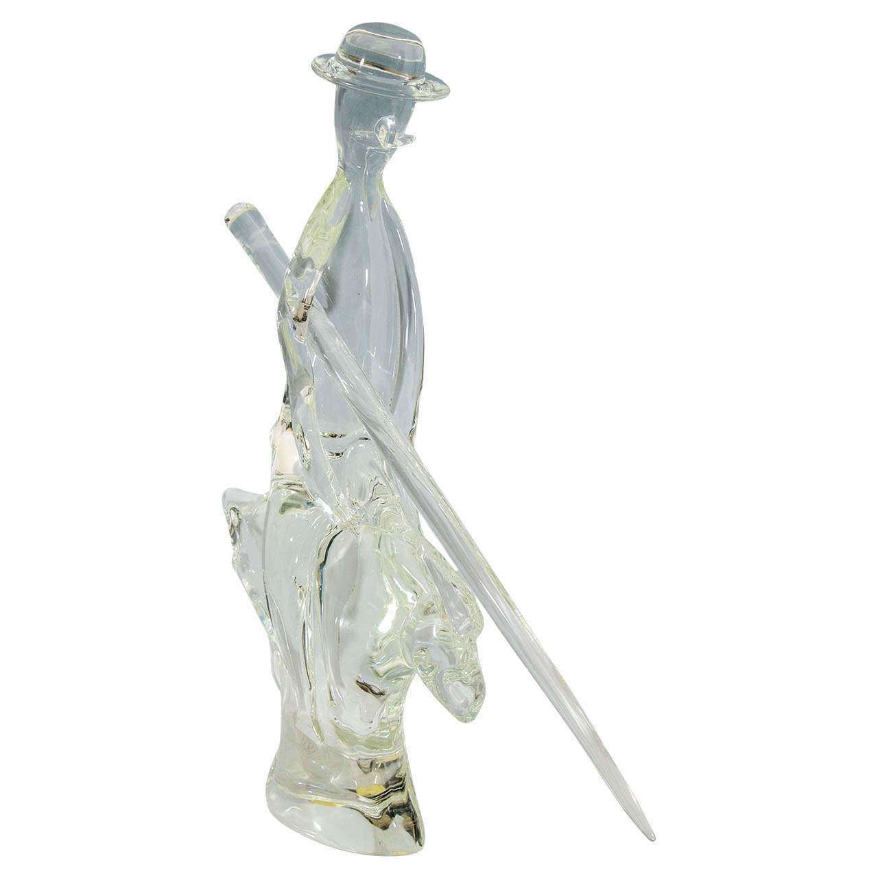 Mid Century Murano Glass Sculpture of Man on Horse Holding a Sword