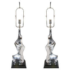 Pair of Brutalist Chrome Lamps by Laurel