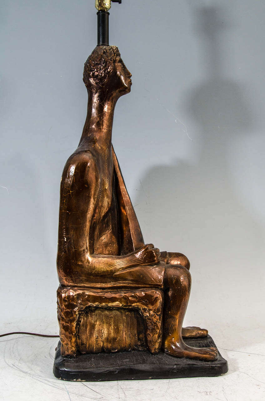incredible massive pair of giacometti style figural table lamps by