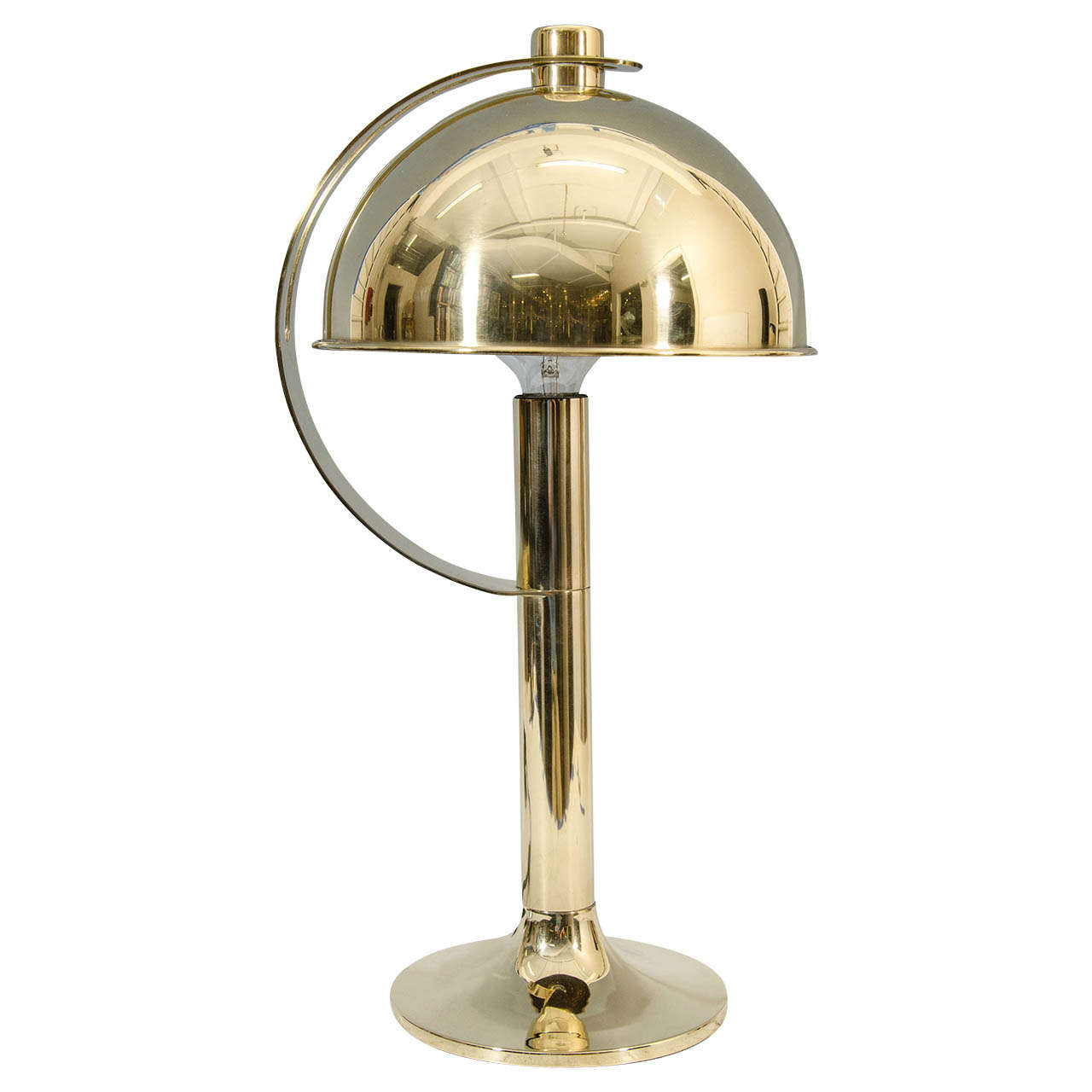 Mid Century Solid Brass Table Lamp w/Adjustable Sliding Brass Shade