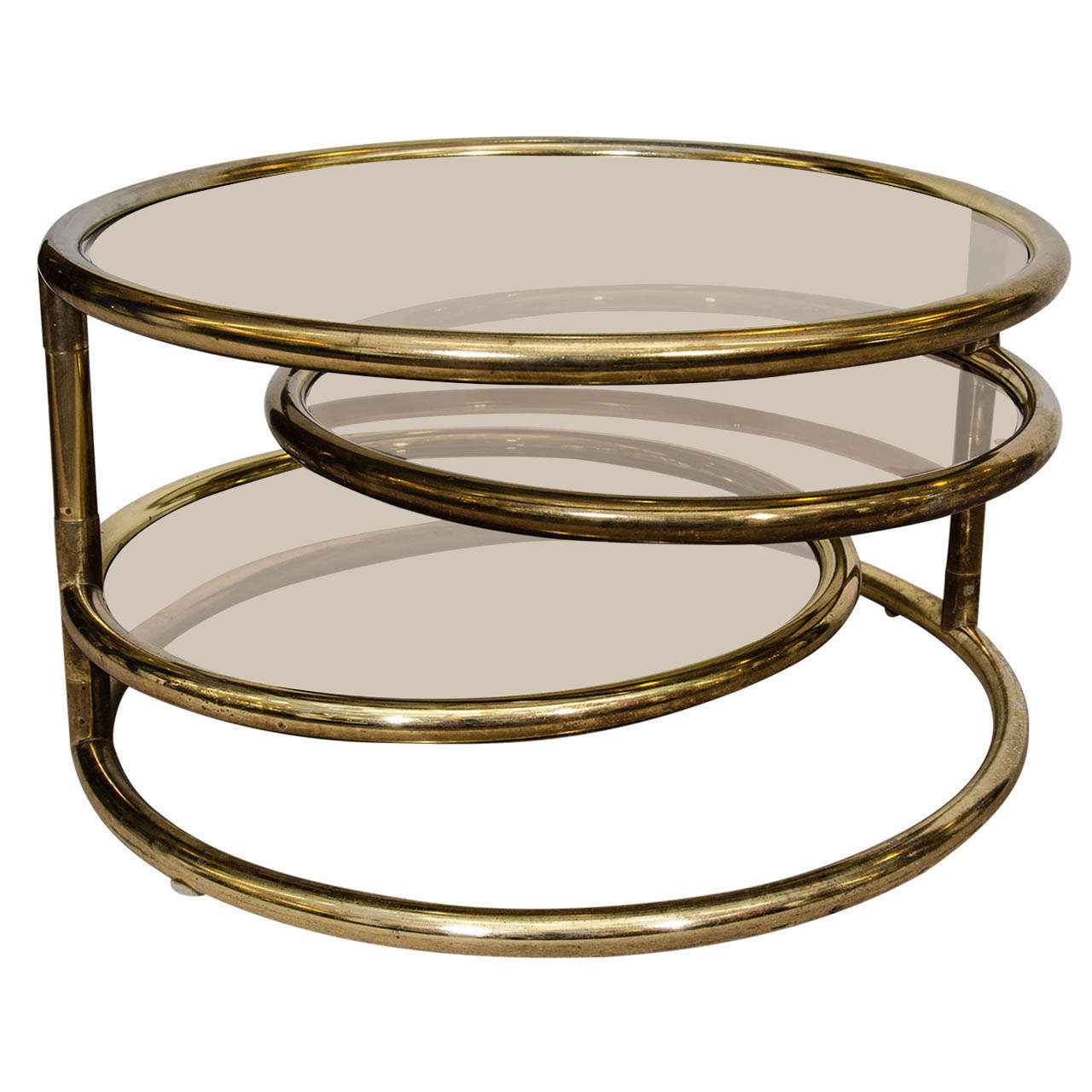 Attirant Mid Century Milo Baughman Style Brass Swivel Coffee Table For Sale