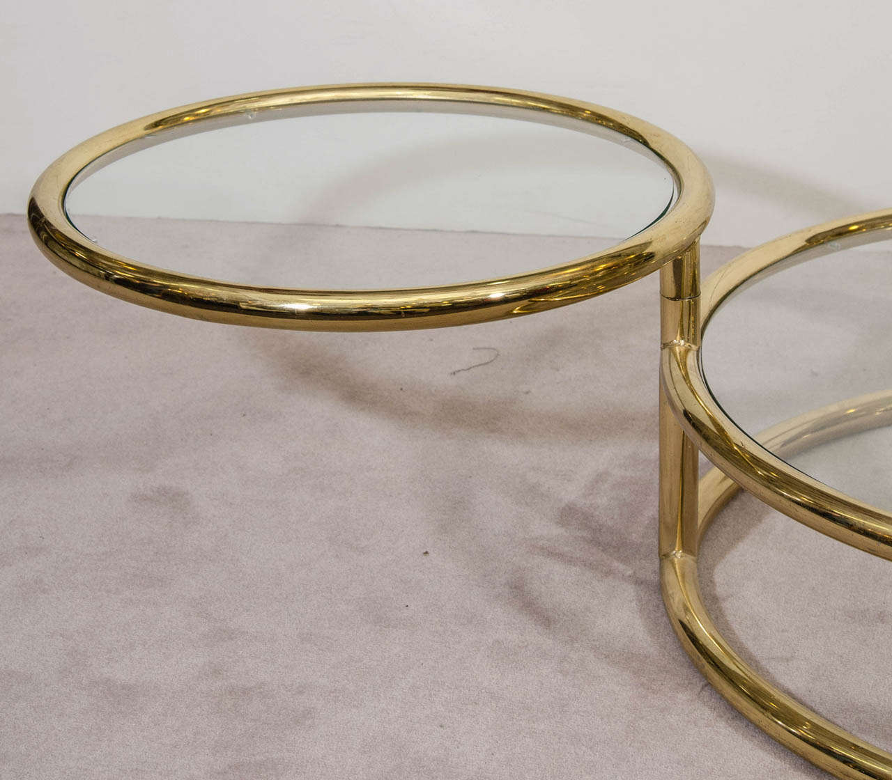 A mid century milo baughman style three tiered brass and for Three tier glass coffee table