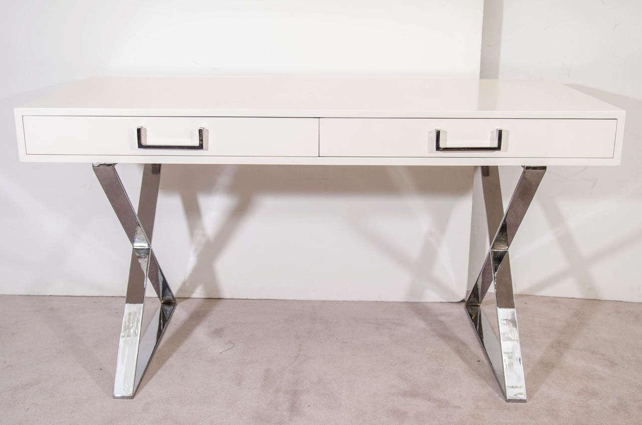 A Mid Century Milo Baughman White Lacquered Campaign Desk