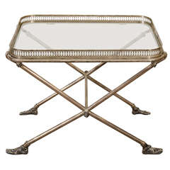 Figural Italian Silvered Bronze and Glass Tray Table