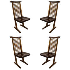 Vintage Set of Four Conoid Dining Chairs Designed after George Nakashima