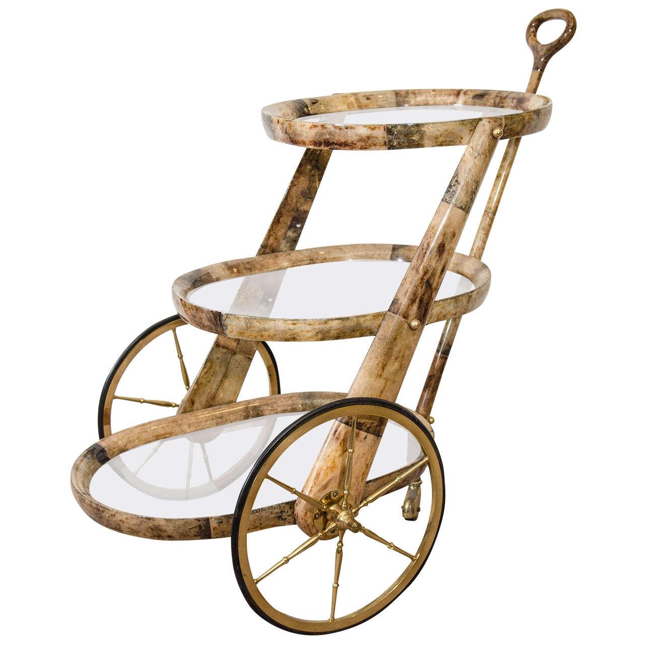 3 tier bar cart white gold bar rare oval design aldo tura three tier lacquered goatskin bar cart zef jam