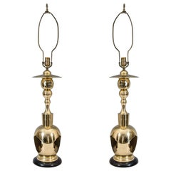 A Mid Century Pair of Asian Inspired Brass Table Lamps