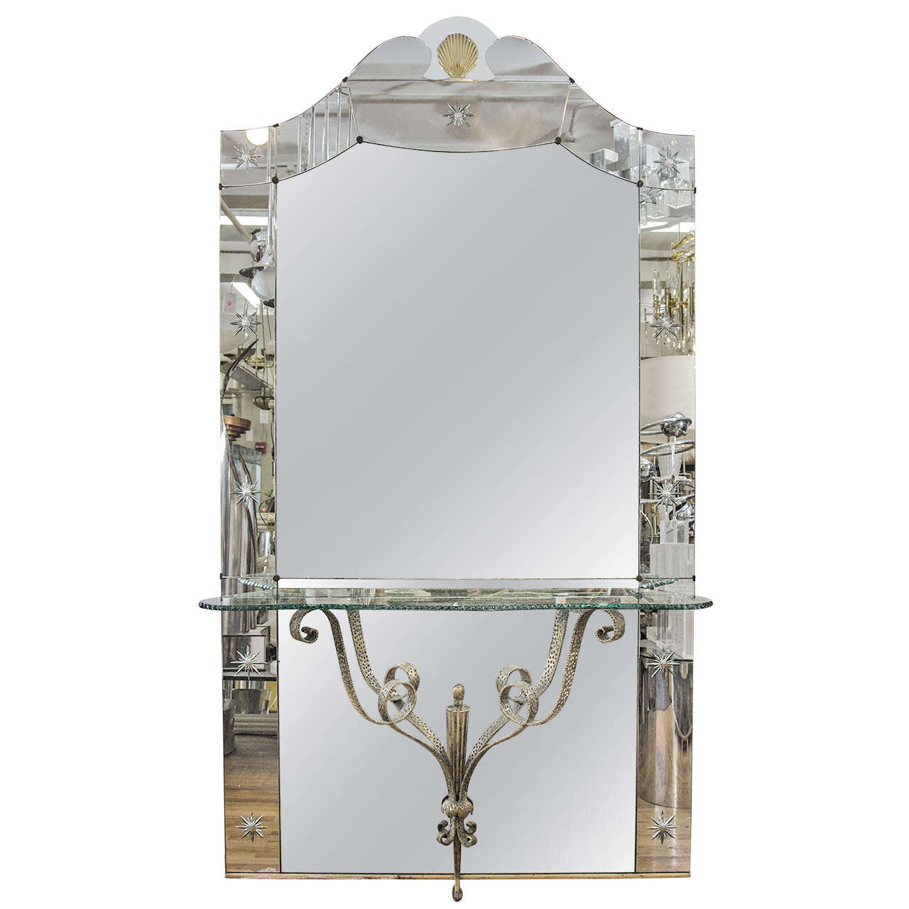 Amazing italian hollywood regency mirror with console for Full length mirror with shelf