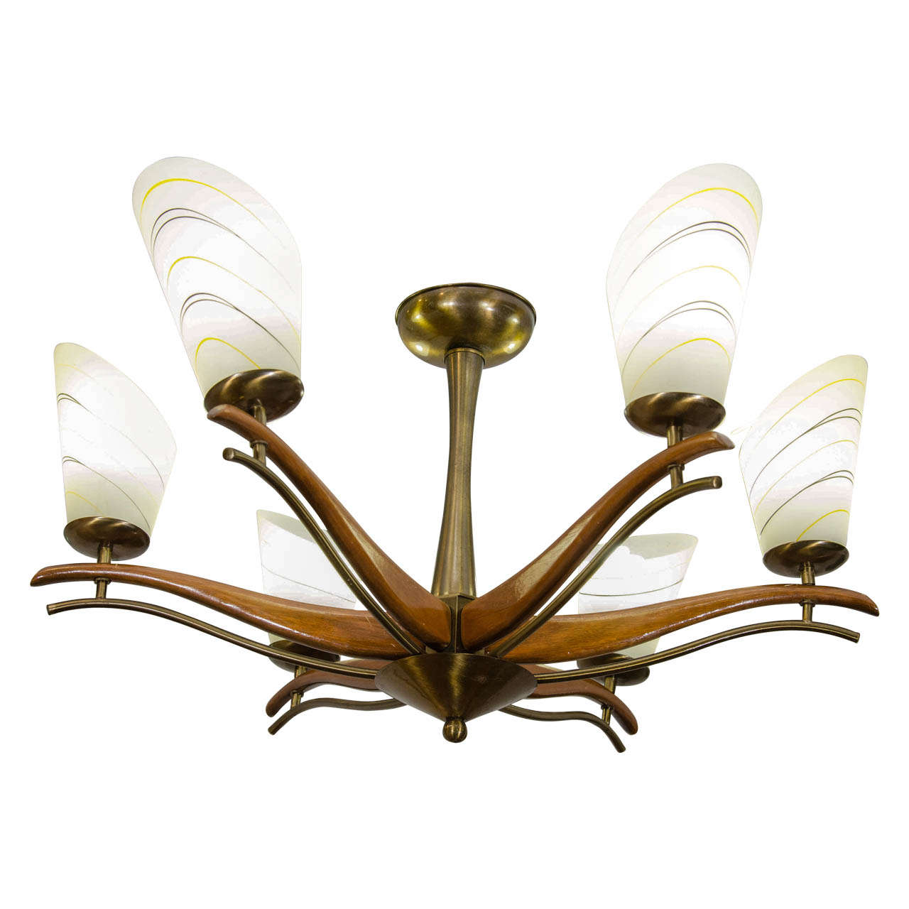 Mid Century Italian Wood And Brass Chandelier For Sale