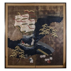 A Meiji Period Japanese Namban Screen with Portuguese Caravel Ship