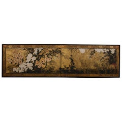 A Late Momoyama Period Floral Japanese Screen