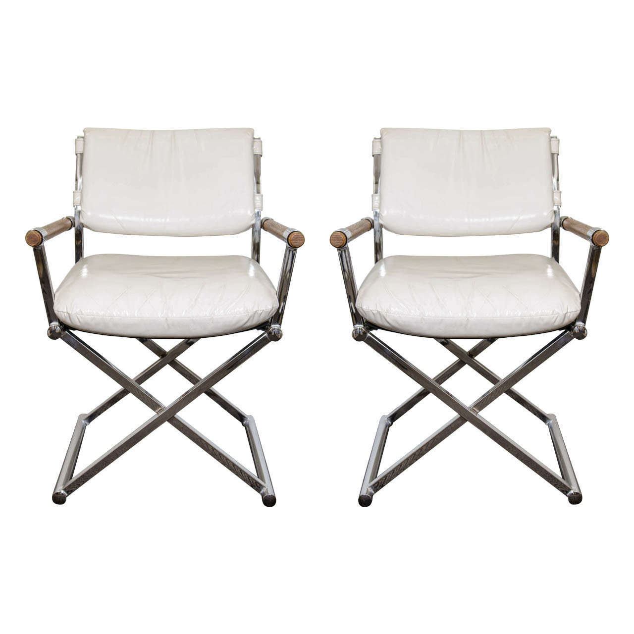 Charmant A Mid Century Pair Of White Leather Directoru0027s Chairs W/ X Base For Sale