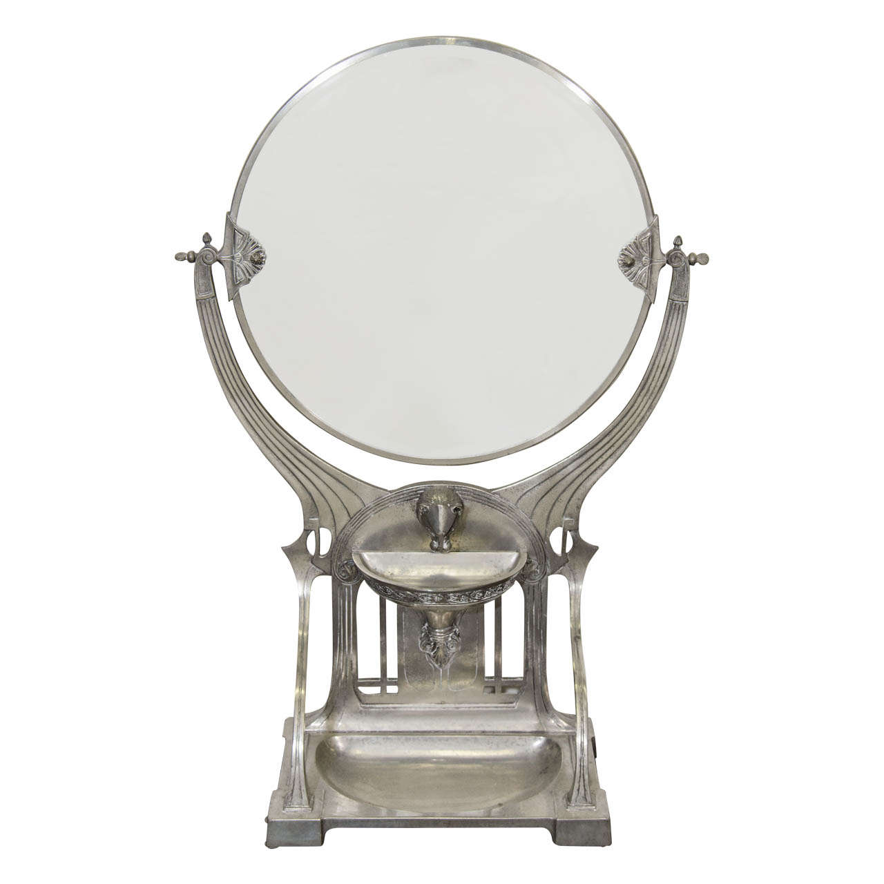 Art Nouveau Silver Fountain with Circular Mirror in WMF Style