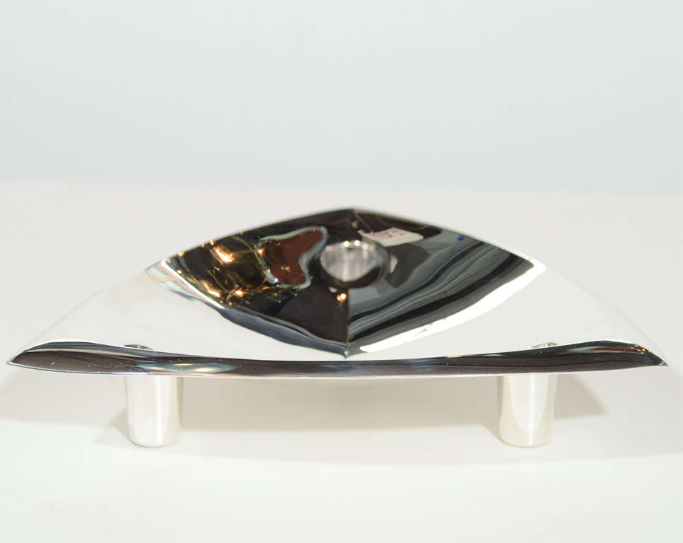 American Sophisticated Mid-Century Modernist Tiffany & Co Sterling Silver Candleholder For Sale