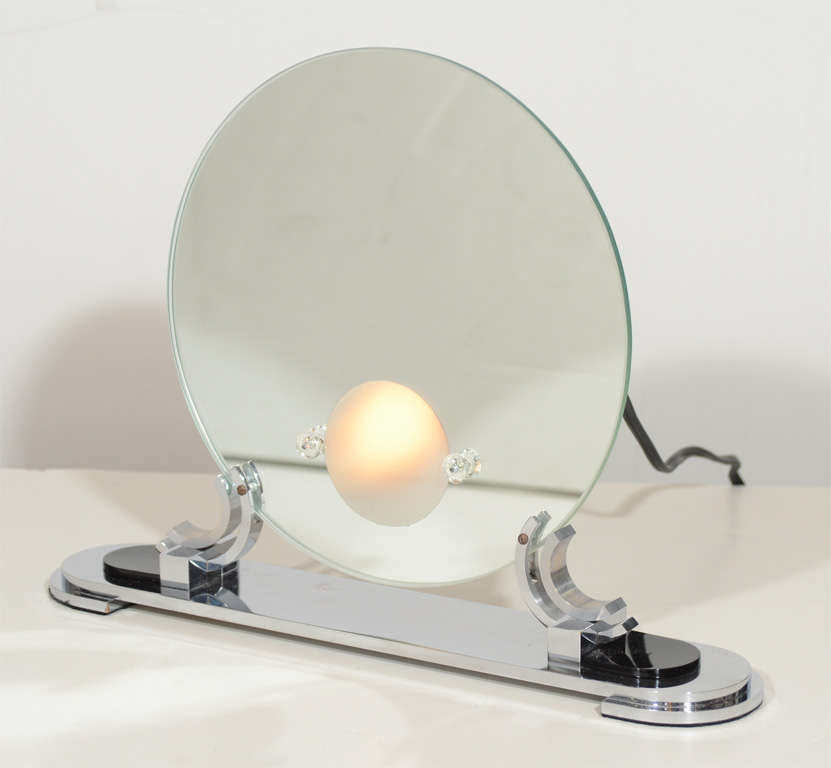 Rare Art Deco Light Up Vanity Mirror In The Manner Of Deskey At 1stdibs