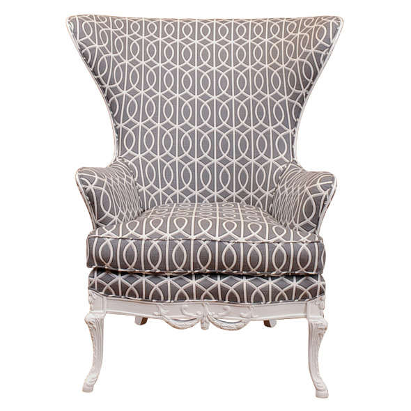 Chic White Lacquered Wing Chair at 1stdibs