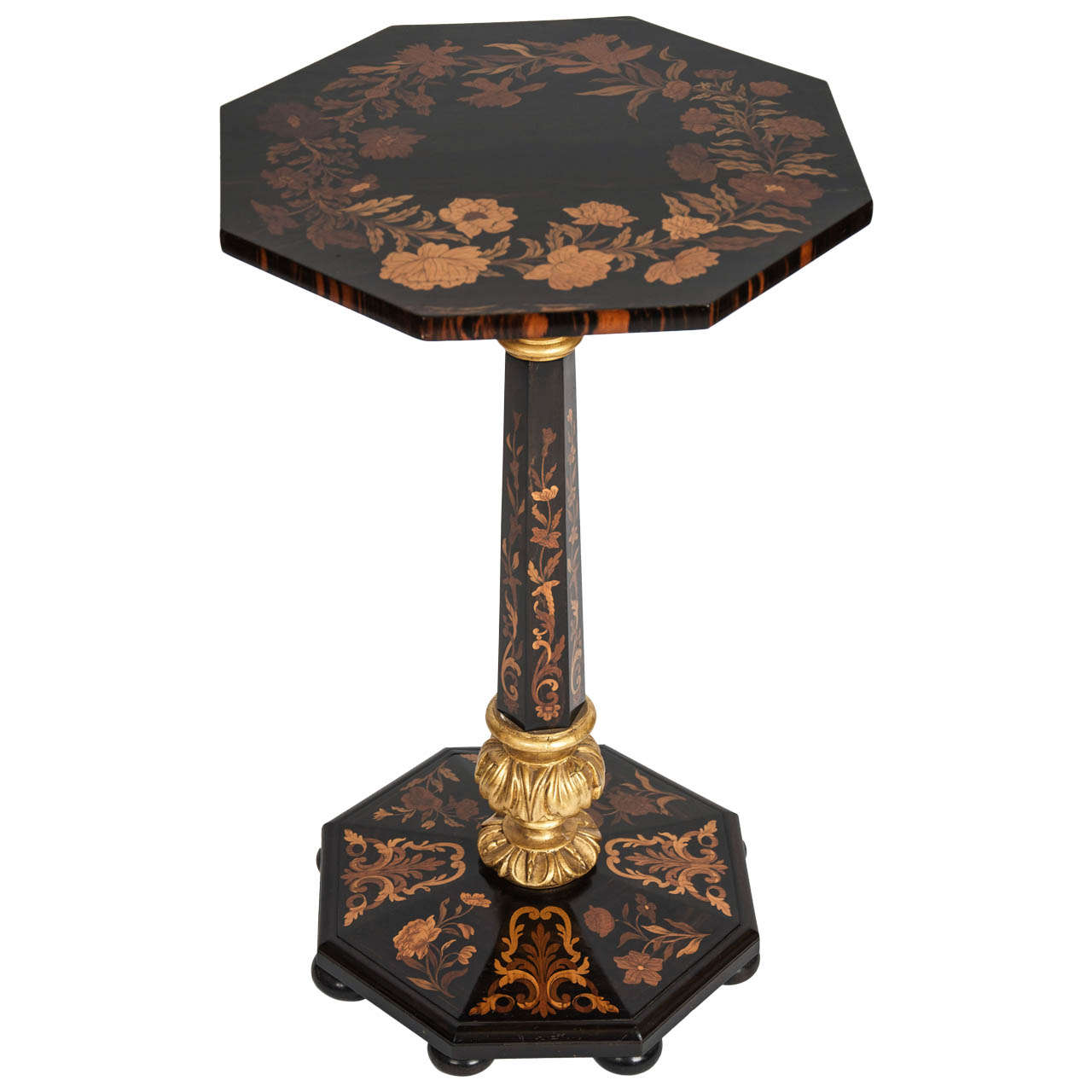 Marquetry and Parcel-Gilt Octagonal Table