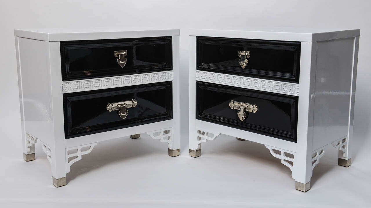 Pair Of White And Black Hollywood Glam Oriental Lacquered Night Stands At 1stdibs