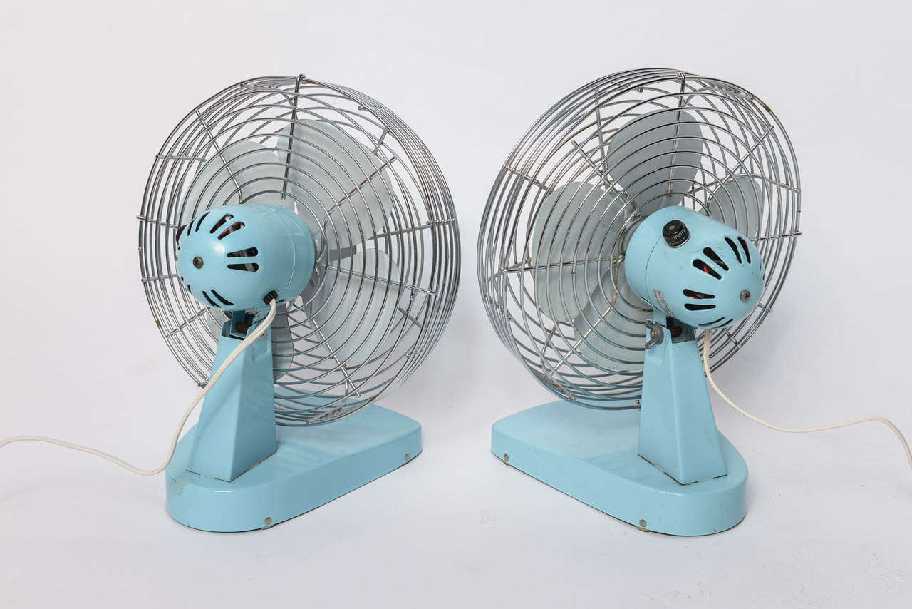 1950s Pair Of Metal Turquoise Fan By Superior Electric