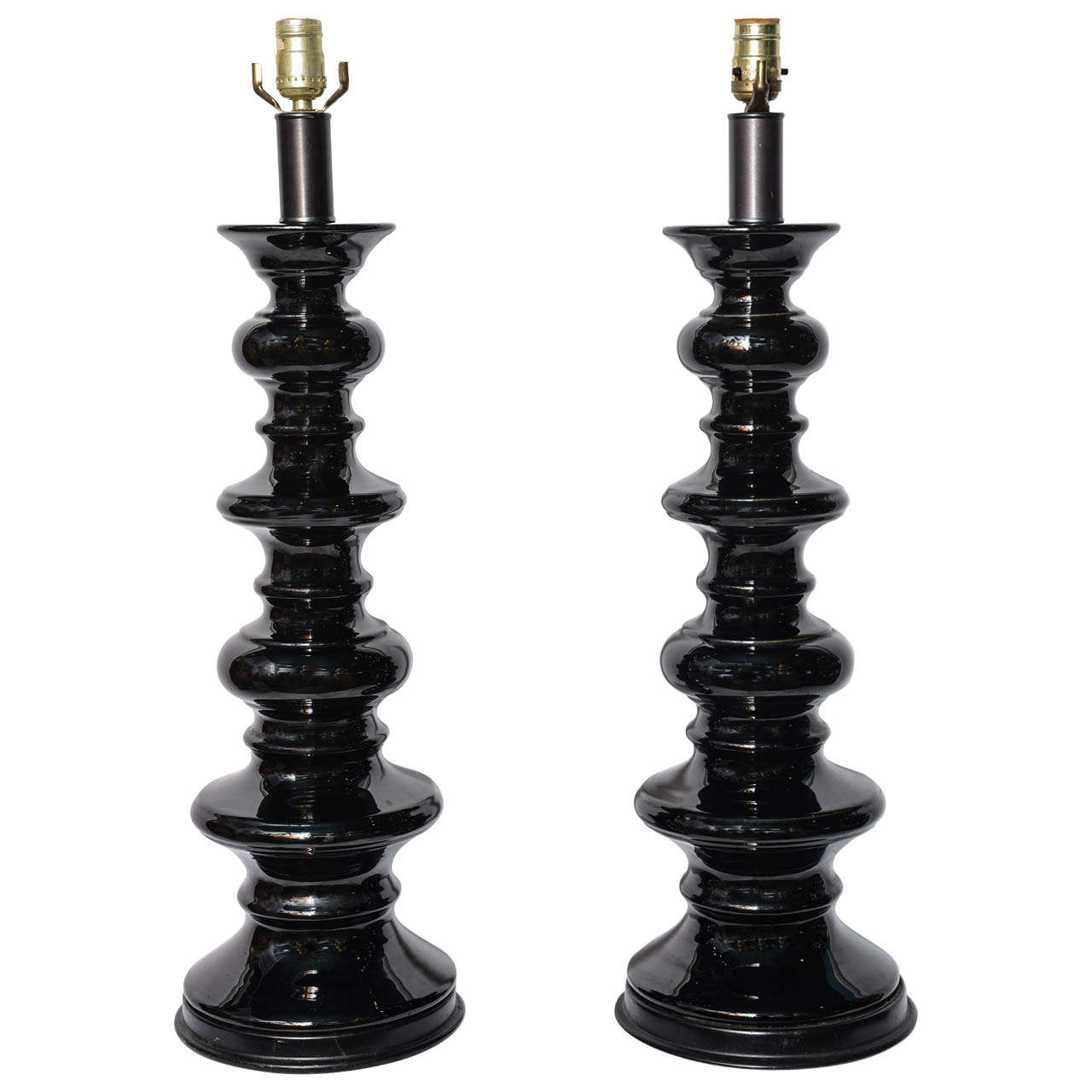 Fabulous Pair Of Tall Black Hollywood Regency Style Table Lamps For
