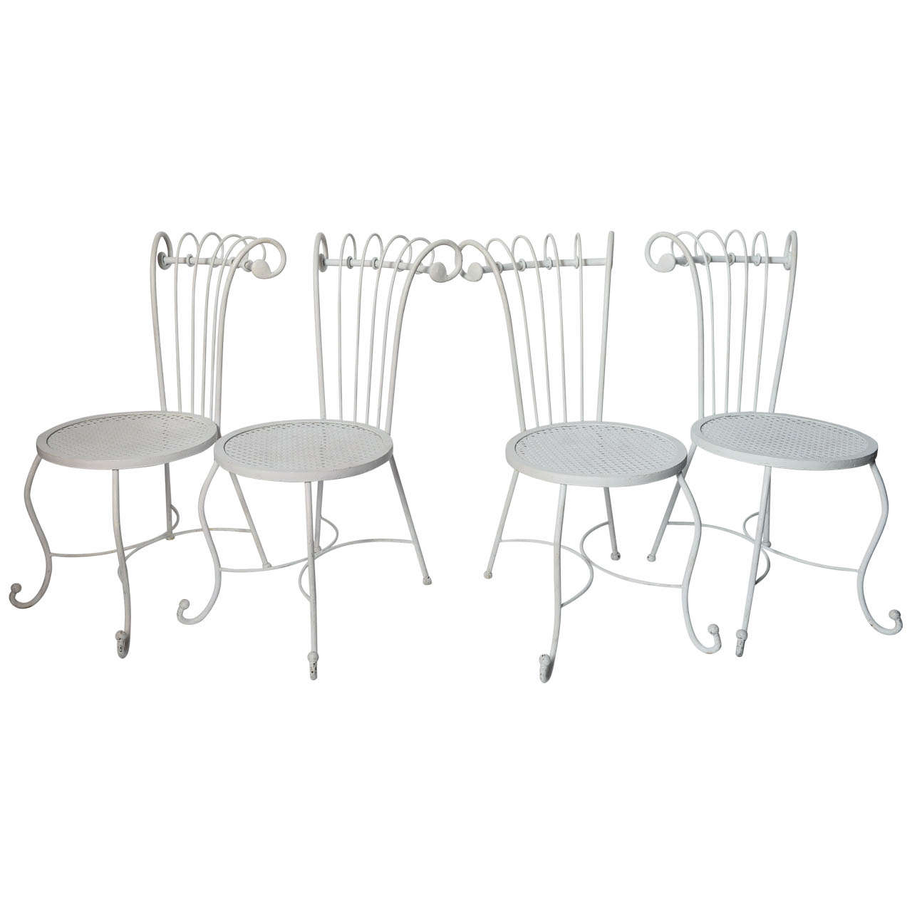 Set Of Four 1940 S Hollywood Regency White Wrought Iron Chairs For