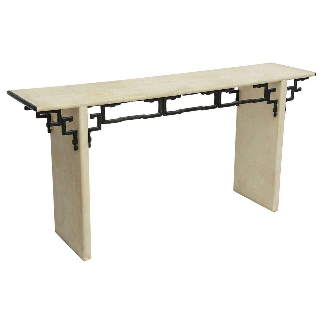 An American Modern Shagreen U0026 Bronze Console Table By Maitland Smith 1