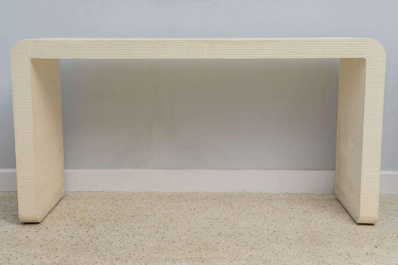 """Mid-Century Modern An American Modern  White Murano Linen """" Waterfall"""" Console Table, Karl Springer For Sale"""