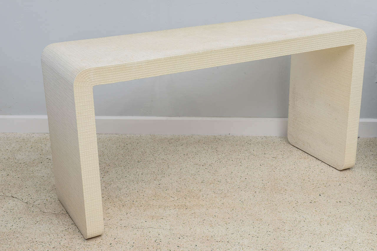 """An American Modern  White Murano Linen """" Waterfall"""" Console Table, Karl Springer 4"""