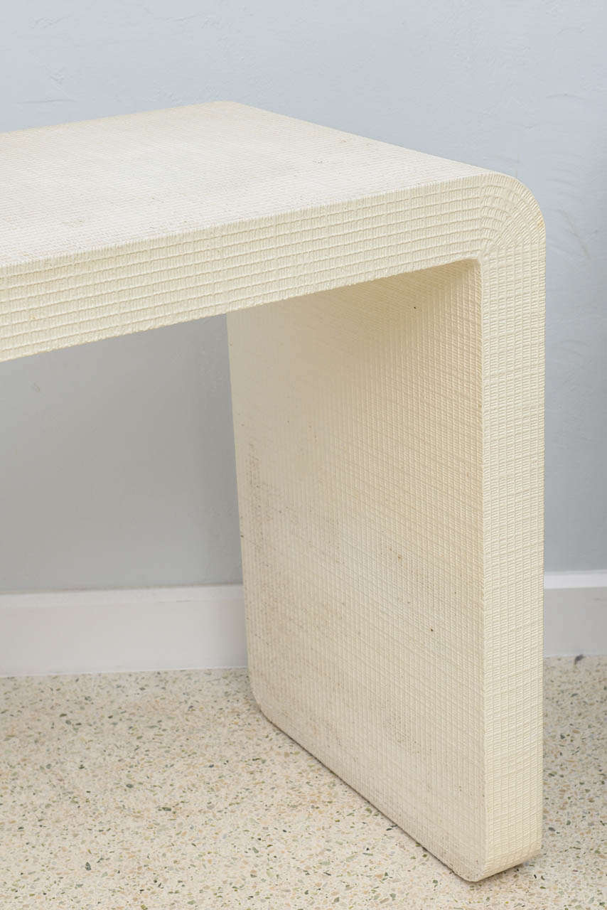 """Late 20th Century An American Modern  White Murano Linen """" Waterfall"""" Console Table, Karl Springer For Sale"""