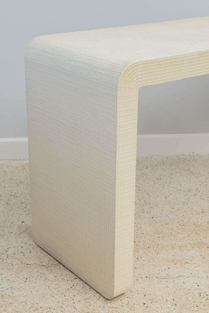 """Paint An American Modern  White Murano Linen """" Waterfall"""" Console Table, Karl Springer For Sale"""