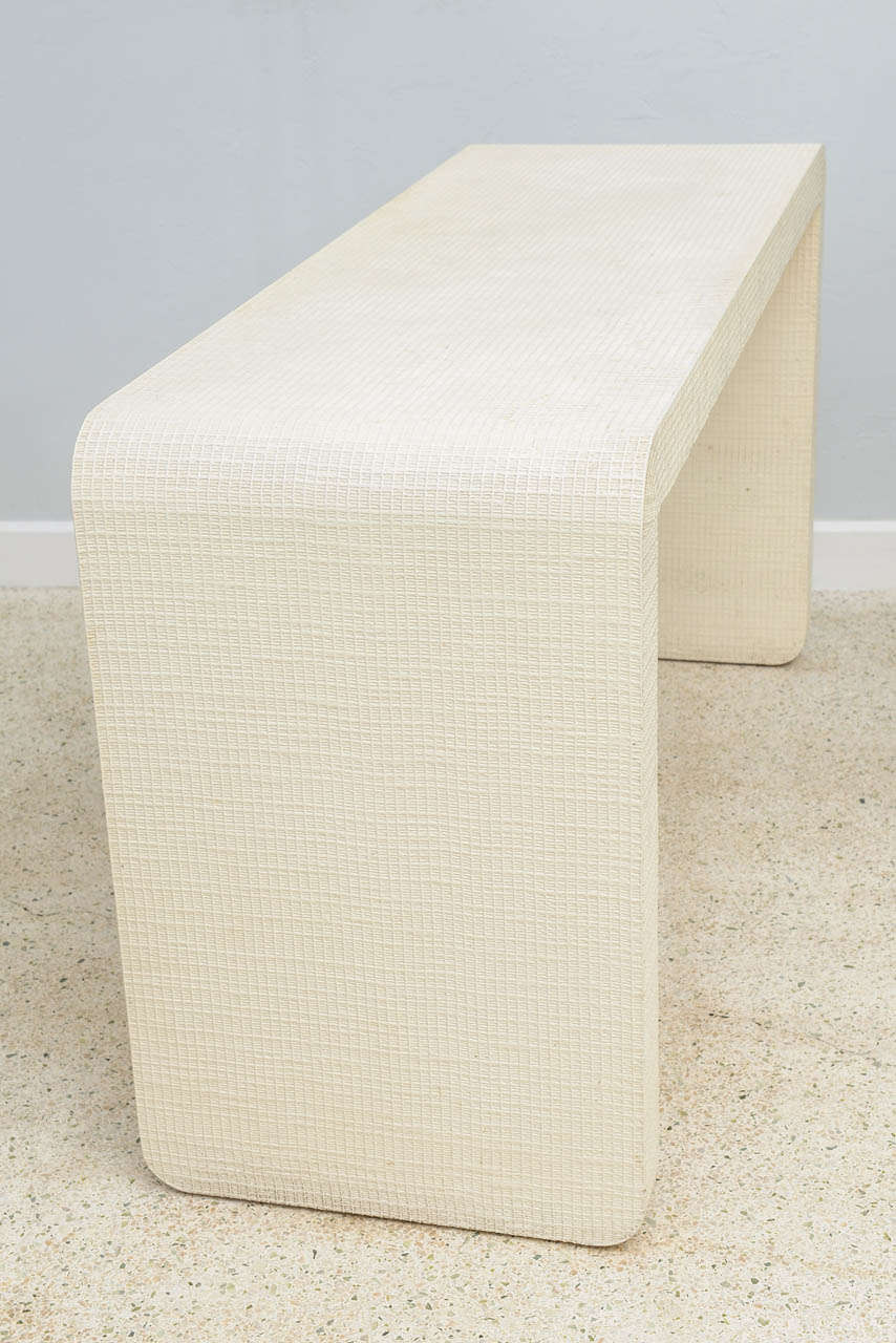 """An American Modern  White Murano Linen """" Waterfall"""" Console Table, Karl Springer For Sale 4"""