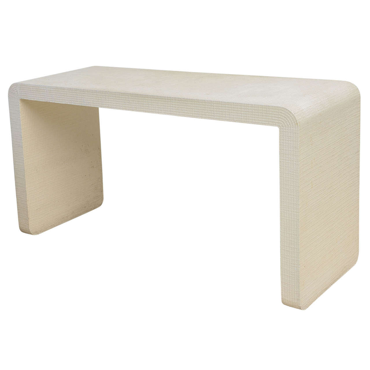 An american modern white murano linen waterfall console for White contemporary console table