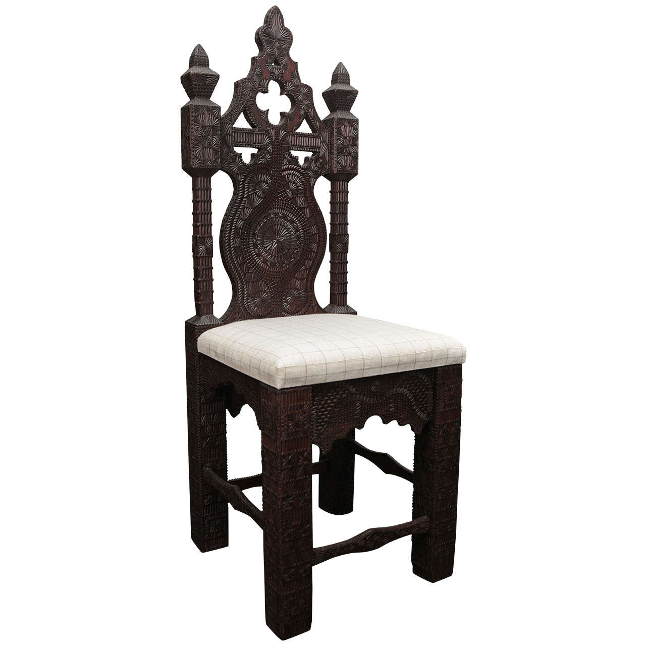 19th Century Turkish Carved Wood Chair with Linen Cushion ...
